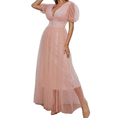 YpingLonk Vestido Formal de Las Mujeres para la Boda Noche Fiesta cctel ms tamao Sexy Malla V-Cuello de hojaldre Hilo Plisado Vestido Largo