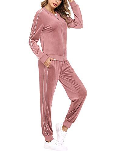 Irevial Completo Sportivo da Donna in Cotone, Tuta Ginnastica Donna Abbigliamento in Velluto, Felpa con Zip e Pantaloni Lunghi a Vita Alta Due Pezzi Sportwear,Casual Pigiama Invernale,Rosa,XL
