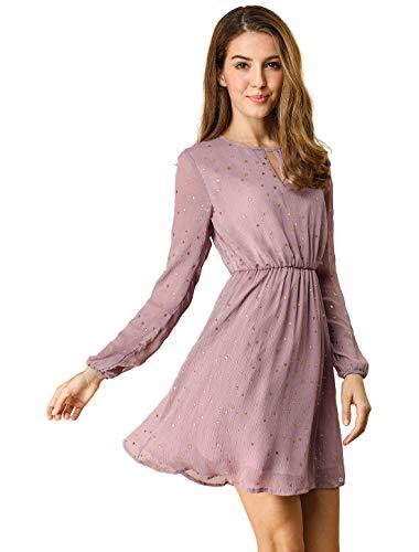 Allegra K Damen A Linie V Ausschnitt Metalic Stern Minikleid Kleid Lila S