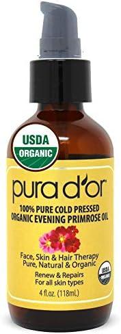 PURA D OR Organic Evening Primrose Oil 4oz 100 Pure Cold Pressed w Natural Essential Fatty Acids product image