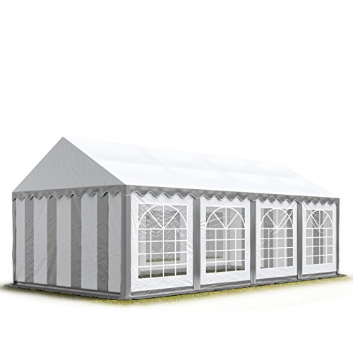 TOOLPORT Party-Zelt Festzelt 4x8 m Garten-Pavillon -Zelt ca. 500g/m² PVC Plane in grau-weiß Wasserdicht