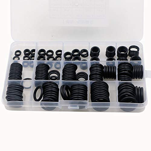 Faucet Washers, 225pcs Rubber O Ring Assortment Kits, 15 Sizes Sealing Gasket Washer, Made of Nitrile Rubber NBR – Ideal for Automotive, Plumbing, Pump and Electrical Appliance etc