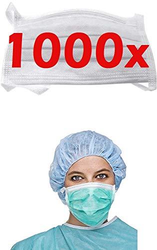 1000x RESCH OP Mundschutz Maske - BESTSELLER NR 1- Maske Atemschutz Mundmaske Hygienemaske Atemschutzmaske zur Prophylaxe, weiss