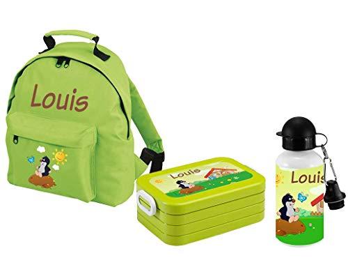 Mijn Zwergenland set 3 kinderdagrugzak Classic en lunchbox lunchbox Maxi + drinkfles met naam groen
