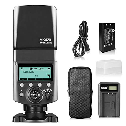 Meike MK420N TTL Li-ion Battery Camera Flash Speedlite with LCD Display for Nikon D850 D810 D3400 D3300 Z6 Z7 and Other DSLR Cameras + Lithium Battery +Diffuser+Battery Charger