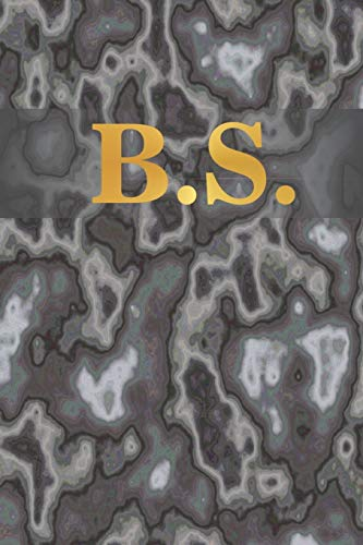 """B.S.: 6\"""" x 9\"""" Executive Style Notebook with 100 Blank CREAM COLORED Lined Interior Pages. Gold Monogrammed Two Initials on Black Marble Matte Printed Cover."""