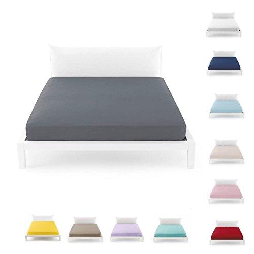 Bassetti Spannbettlaken für Doppelbett, 175 x 200 cm, einfarbig, 100 % reine Baumwolle (Hellblau - 3378)