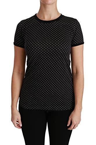 Dolce & Gabbana Camiseta de algodón con cuello redondo para mujer, color negro TSH4435