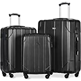 Merax Luggage Sets 3 Piece Lightweight P.E.T Luggage 20inch 24inch 28inch, Black
