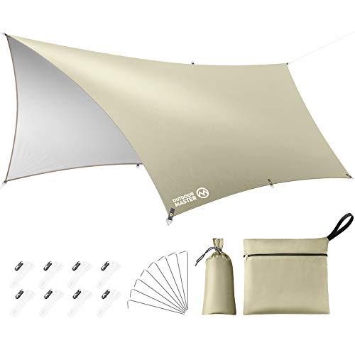 OUTDOORMASTER防水タープ テント キャンプ タープ 日除け 遮熱 遮光 軽量 UPF50+ 紫外線99.9%カット 3000mm耐水圧 300D高密度生地 8つペグ付 8つテントロープ付 防水収納ケース付 UVカット 運動会 ピクニック アウト