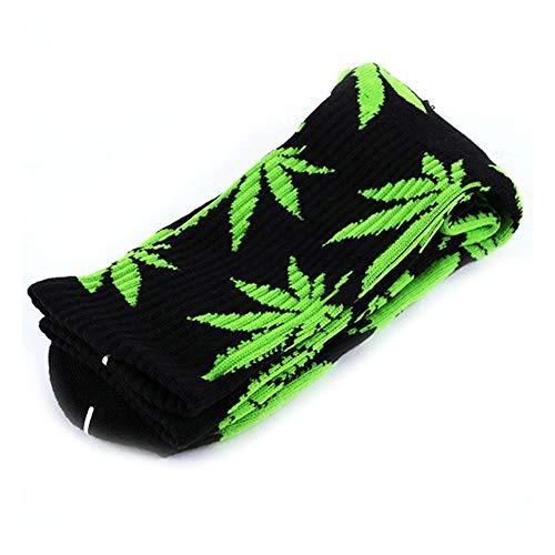 Deanyi 1 Paar Mode Hanf Blatt gedruckt Socken Bequeme Baumwollsport kurze Socken Black & Green Free Size Kleidung