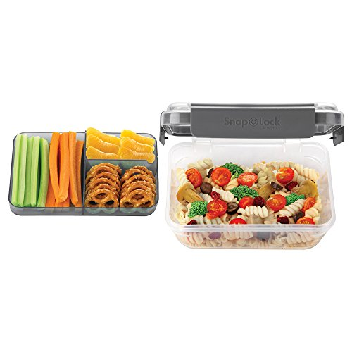 SnapLock by Progressive Bento-To-Go Container - Gray, SNL-1021GY Easy-To-Open, Leak-Proof Silicone Seal, Snap-Off Lid, Stackable, BPA FREE