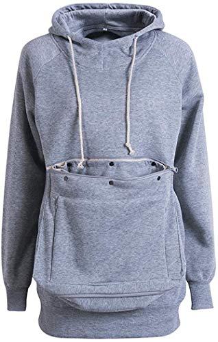 Women's Long Sleeve Big Kangaroo Pet Pouch Hoodie Pet Cat Small Dog Holder Sweatshirt Coat (Grey, L)