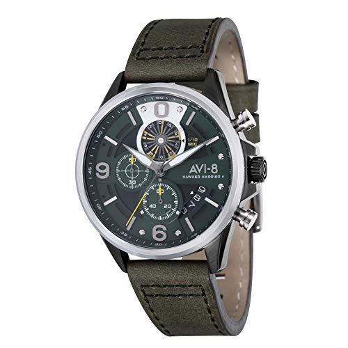 AVI-8 Men's Hawker Harrier II 45mm Green Leather Band Quartz Watch AV-4051-02
