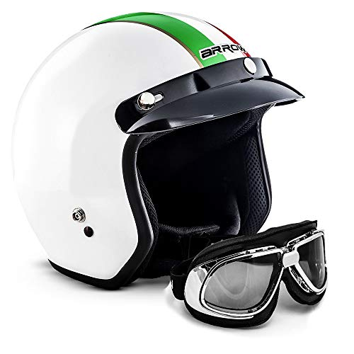 "ARMORHELMETS® AV-47 Set ""Italy"" · Jet-Helm · Motorrad-Helm Roller-Helm Scooter-Helm Bobber Mofa-Helm Chopper Retro Cruiser Vintage Pilot Biker Helmet Brille Visier Helmet Bluetooth · XS (53-54cm)"
