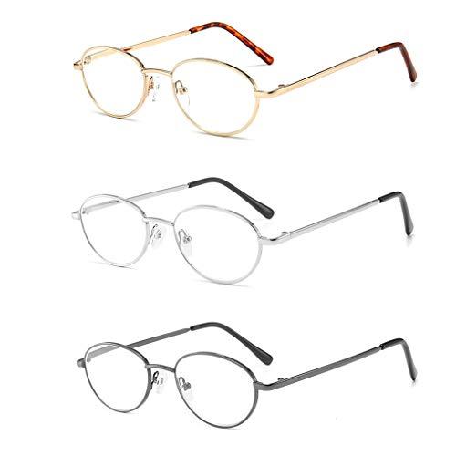 Vintage ronde leesbril Metalen frame optisch Anti-blauw licht Ultralichte draagbare bril Dames Heren Vision Care Brillen (3 stuks),+4.00