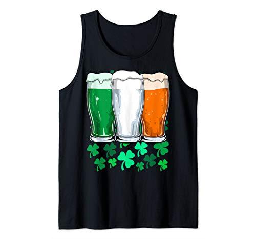 St Patricks Day Irish Beer Flag Ireland Flag Beer Mug Celtic Tank Top