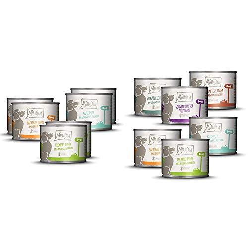 MjAMjAM - Premium Nassfutter für Hunde - Mixpaket I - Huhn & Ente, Rind, Pute, 6 Stück, 6er Pack (6 x 200 g), getreidefrei mit extra viel Fleisch & Premium Nassfutter für Hunde - Mixpaket II