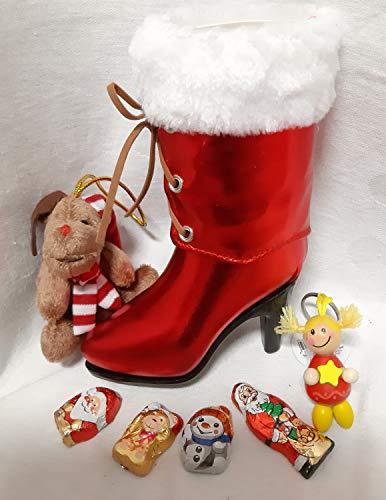 110661 Nikolaus Damen Stiefelette gefüllt Nikolausstiefel Schutzengel Glücksbringer Weihnachts Stiefel Geschenk