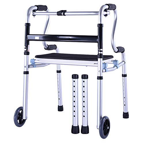 Elderly person supplies Folding Walker, Disabled Rehabilitation Wheeled Walker with seat, Old Light Four-Legged Cane Height Adjustable, Suitable for Middle-Aged and Disabled People ZDDAB