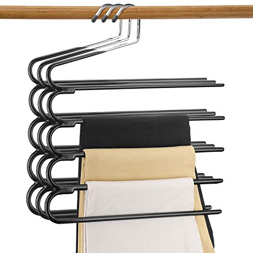 DOIOWN Pants Hangers Multi-Layer Jeans Trouser Hanger Space Saving Open –Ended Clothes Hangers Non Slip Closet Storage Organizer for Jeans Towels Scarves (3)