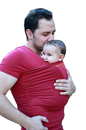 Camiseta de porteo, camiseta portabebés. Anticólicos bebé Hombre Amarsupiel Talla L(44-46) Color rojo