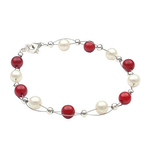 Braccialetto da donna, con perle di acqua dolce coltivate, di colore bianco crema e corallo rosso, in argento 925, personalizzabile
