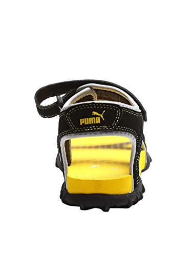 Puma Kid's Unisex Track Jr DP Sandals, Black, 4 UK, black-blazing yellow-glacier gray