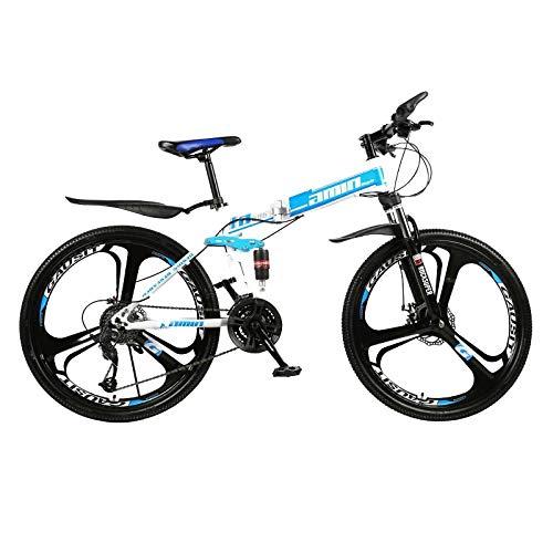 PsWzyze Adultos Unisex Bicicleta,Bicicleta de montaña Plegable de 26 Pulgadas y 21 velocidades, Bicicleta de MTB con 3 Ruedas, Bicicleta de Ciudad portátil para Estudiantes Adultos-Azul