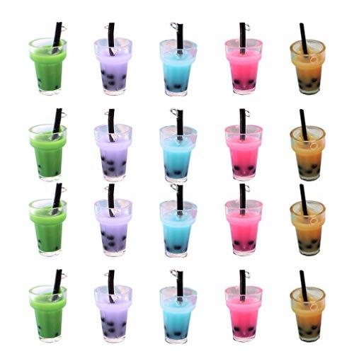 EXCEART Encantos de Botellas de Cristal Falso Decoración de Té de Burbujas Estéreo Accesorios de Joyería para Llavero Pendientes Collar 20 Piezas