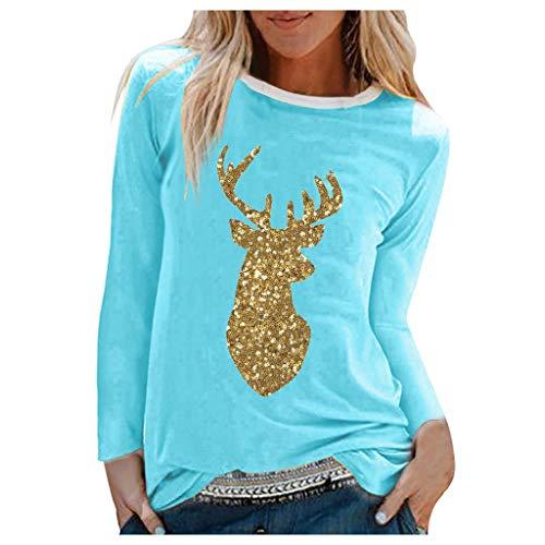 Vrouwen Kerstmis Pailletten Elk Print Top Shirt Dames Lange Mouw O Nek Herfst Winter Sweatshirt Pullover Tuniek