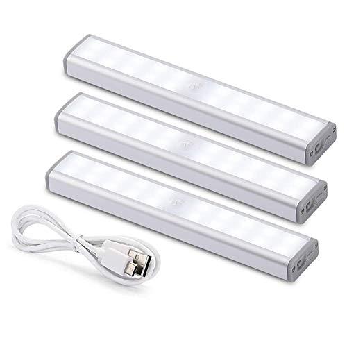 YXZQ Luz de Armario con Sensor de Movimiento, USB inalámbrico Recargable para iluminación Debajo del Armario Luz LED para Armario con 30 LED, luz de Noche LED para Armario, Armario, escaleras