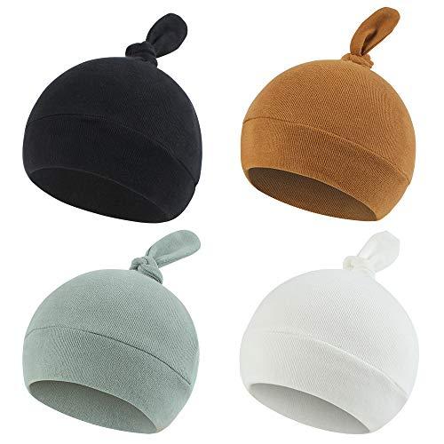 Newborn Hospital Hat Autumn Winter Baby Knot Beanie Baby Boys Girls Hats 0-12 Months (4PACK, S)