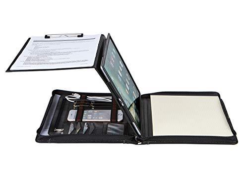 Surface Pro 3/4/5/6用タブレットケース付きプロフェッショナルポートフォリオ、レターサイズ/ A4クリップボード&ノートパッドホルダー付きビジネス牛革Padfolioオーガナイザー