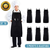 CHEFLUX [6pk] Adjustable Commercial Black Restaurant Aprons with 3 Large Pockets [Bulk] Chef Cooking Bib Apron for Kitchen Waitress [Unisex] Men Women [33 x 28 in] BBQ Painting Stylist [39 in tie]