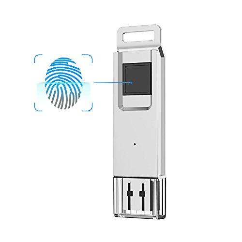 KOOTION 64GB High Speed Recognition Fingerprint Encrypted Flash Drive USB3.0 Drive Memory Stick, Silver