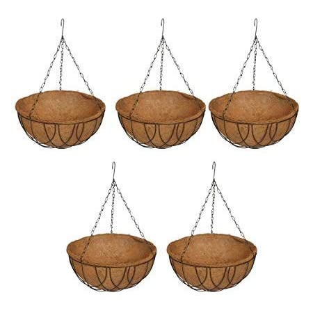 COIR GARDEN Metal Gardening Pots With Stand, 12 inch, 5 Pieces