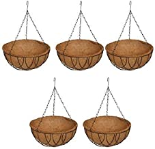 COIR GARDEN Water Hanging Basket 12 Inch 5 Pieces - Coco Gardening pots with Stand - Flower Pots Hanger Garden Decoration ...