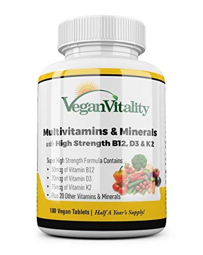 Multivitaminas y minerales veganos con vitamina B12, D3 y K2 de alta resistencia. 180 tabletas...