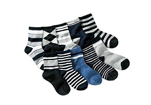 Colourful Baby World - Boy Enfant Mixé Chaussettes Paquet Paquet De 5 À Carreaux Rayure Noir Gris Âge 5 6 7 8