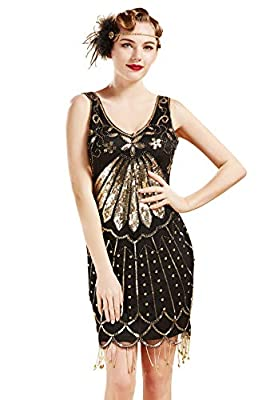 BABEYOND 1920s Flapper Dress Sequins Art Deco Dress 20s Great Gatsby Beaded Fringe Dress for Party