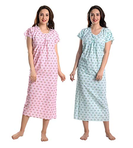 CIERGE Women's Cotton Printed Maxi Nighty (Ankle Pink & Green,...