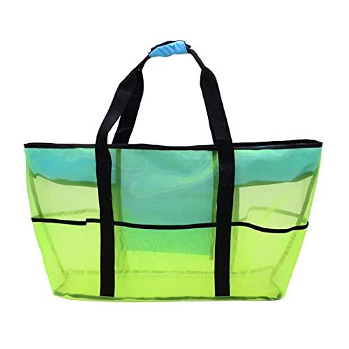 YSJJVDS Strandtasche Faltbare tragbare Strandtasche Mesh Aufbewahrungstasche Outdoor Beach Park Schwimmen Spielzeug Tuch Kleidung Organizer Schwimmtasche (Color : Flourescent Green)