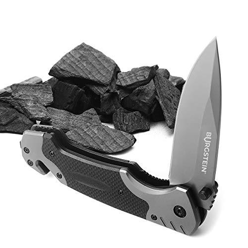 Burgstein® Outdoor Klappmesser – Taschenmesser, Extra Scharfes Einhandmesser mit Titaniumklinge aus Edelstahl, 3-in-1 Klappmesser mit Gurtschneider & Glasbrecher