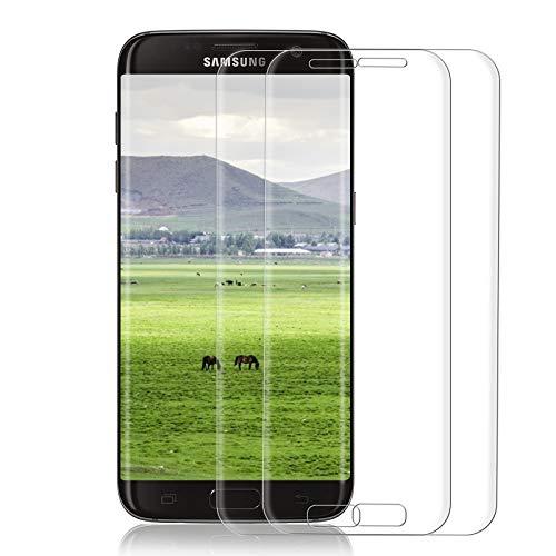 【2 Pièces】Verre Trempé pour Samsung Galaxy S7 Edge, 3D Couverture Complète Film de Protection d'Ecran, Anti-Empreintes Digitales, 9H Dureté Verre Trempé S7 edge - Transparent