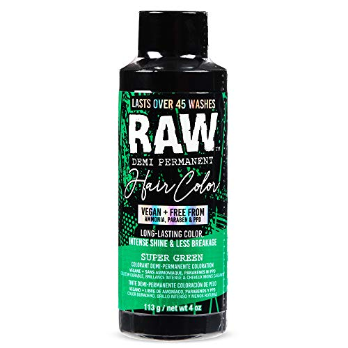 RAW Super Green Demi-Permanent Hair Color, Vegan, Free from Ammonia, Paraben & PPD, lasts over 45 washes, 4oz