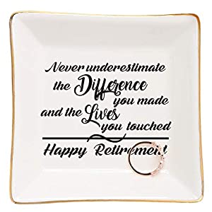 Crafted from high quality glazed ceramic with marble pattern,Well packed with styrofoam and white box.(small trinkets are not included) Sentiment written in Plate:Never Underestimate the Difference You Made,and the lives you touched. A great retireme...