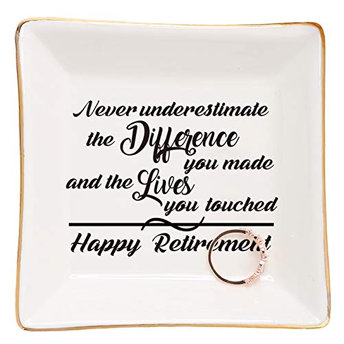 Retirement Gifts for Women-Ceramic Ring Dish Trinket Tray-Happy Retirement Appreciation Gift for Mom,Coworkers, Boss,Friends,Nurse,Teacher-Never Underestimate the Difference You Made