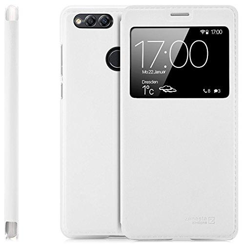 zanasta Designs Tasche Huawei Honor 7X Case Schutzhülle Flip View Cover mit Fenster und Kameraschutz | Weiß