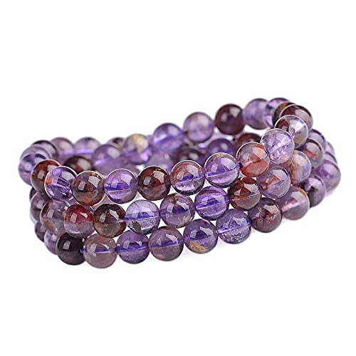 6mm natural colorido Auralite 23 Cacoxenita para mujeres hombres cristal cuarzo piedras preciosas reiki redondo grano elástico pulsera